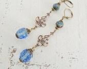 True Blue Long Earrings Light Sapphire Dangles Czech Glass Earrings Boho Chic Earrings Colorful Bohemian Dangle Earrings Summer Sky Blue
