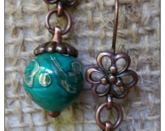 Turquoise and silver glass earrings, copper findings