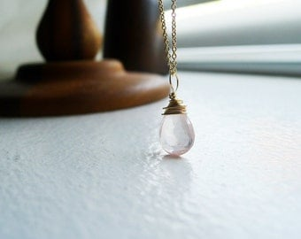 Rose Quartz and gold filled chain necklace gold filled wire wrapped