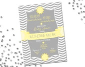 You Are My Sunshine Baby Shower Invitation - Chevron Stripes - Grey and Yellow - Modern Layout - Printable