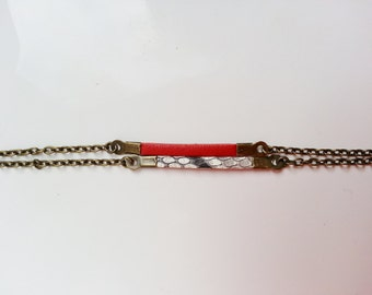 Bracelet double red leather and python