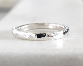 Micro-Hammered Ring • Eco-Friendly Recycled Sterling Silver • Handmade Hammered Band // Wedding Band