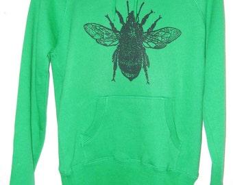 SALE Bumblebee Womens bright kelly green printed hoodie