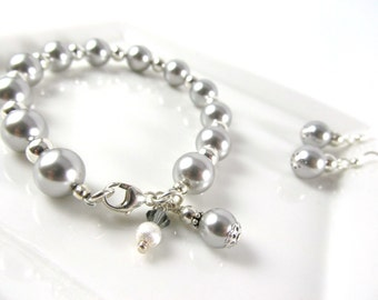Bracelet and Earring Set for Bridesmaids, Various Colors, Bracelet and Earring Set, Bridal Collection, Pearl Sterling Silver Jewelry