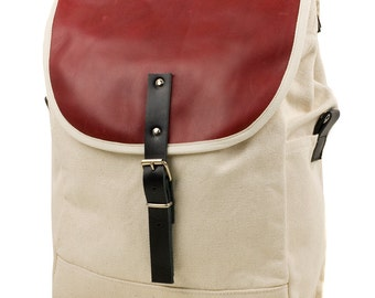 White Blood Orangel NoMad Backpack - Men's Leather and Canvas Backpack - Exclusive Men's Accessories