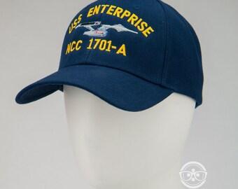 "Star Trek Naval ""USS Enterprise NCC 1701-A"" Inspired - Embroidered Baseball Hat or Cap"