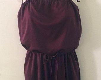 Vintage 70s Burgundy Wine Purple Red Hippie Boho Pocket Dress Jumpsuit Pantsuit