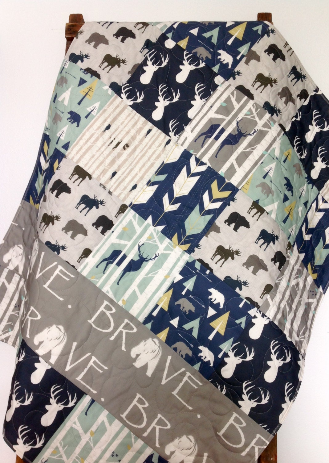 Baby Quilt Deer Baby Bedding Moose Woodland Crib By Coolspool