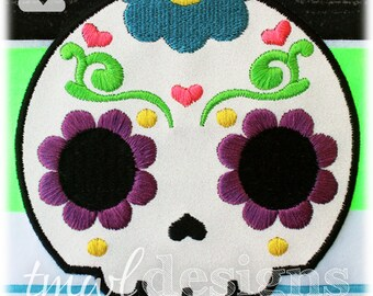 Sugar Skull Hearts Appliqué Digital Design File - 5x7