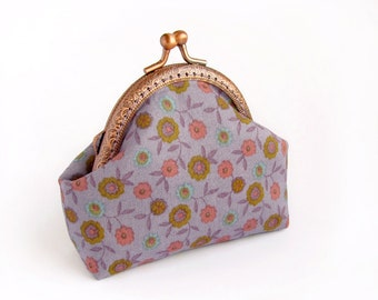 Purple Coin Purse, Lavender floral purse, flowers change pouch, handmade frame purse, made to order