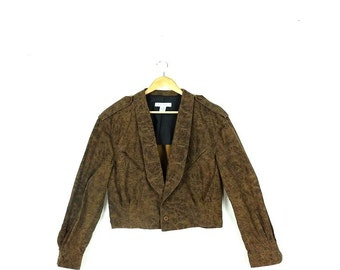 Vintage Brown/Black  Marled Riders /Motorcycle Style Cotton Light Jacket  from 1980's*