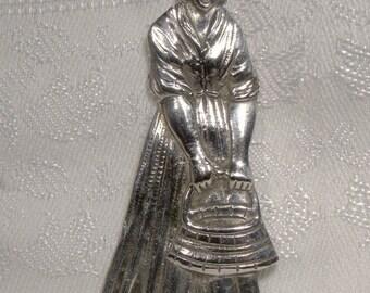 Dutch Antique Silver Spoon Top Farm Girl with Pail Unique Brooch Pendant Idea