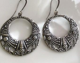 Bohemian Earrings  Large Silver Hoop Earrings  Boho Earrings  Antiqued Silver Hoop Earrings  Gypsy Dangles
