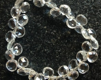 White topaz faceted briolettes, AAA grade.  Approx. 6.75x6.75mm - 7.25x7.25mm.   Select a quantity.