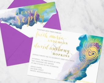 Watercolor Gold Peacock Feather Invitation Suite - Printable - Digital File