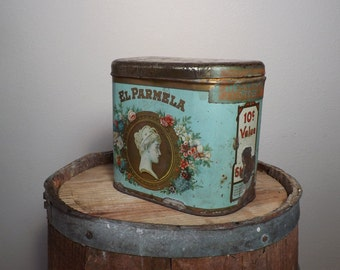 El Parmela Cigar Tin ~ Tobacco ~ Collector ~ Tax Stamp ~ Tobacciana ~ Tin Advertising ~  Photography Prop