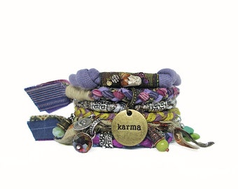 Karma Bracelet Stack Hippie Style Bangles Vegan Gypsy Boho Bracelet Purple Bohemian Bracelet Stack Upcycled Multi Strand Yoga Bracelet