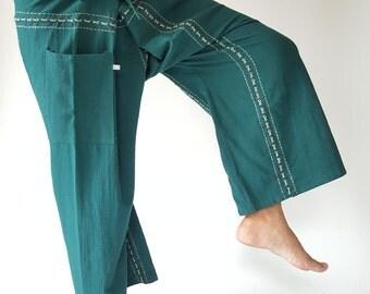 F80042 Handmade Thai Fisherman Pants Wide Leg pants, Wrap pants, Unisex pants