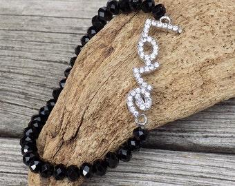 handmade black beaded love bracelet