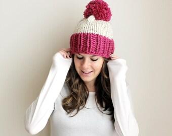 50% OFF Hat Knit Pom Pom Slouchy Raspberry Wheat- Chesapeake Hat