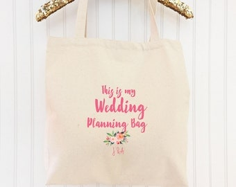 Wedding Planning Bag - Engagement Gift for Bride-to-Be Custom Tote Personalized Tote Custom Bridal Shower Gift Cotton Canvas Reusable Tote