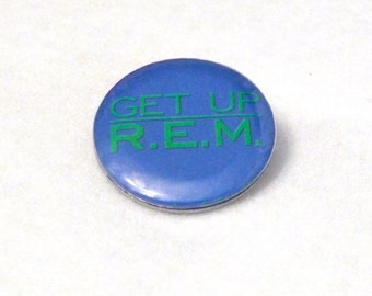 REM Pinback Vintage Get Up 1989 Green Tour Badge Pin Michael Stipe Peter Buck Bill Berry Mike Mills Athens GA 1980s alternative