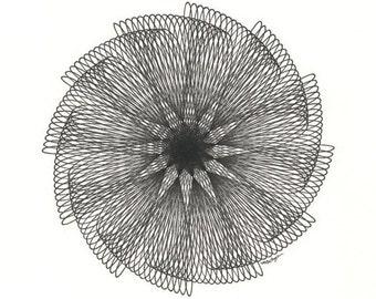Pen & Ink Original Art, Black and White Abstract Flower Spiral Original Ink Drawing, Geometric Line Drawing, Minimalist 8 x 10 Wall Art