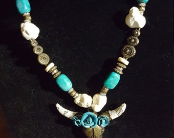 Bull Skull Western Necklace with Matching Earrings