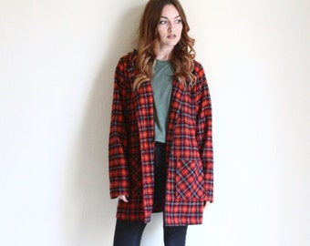 90s plaid hooded jacket | oversized sweater | boyfriend sweater | lightweight midi coat [ small / medium ]