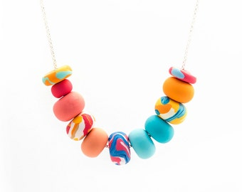 Handmade Polymer Clay Jewelry Necklace: Perfect Palette in Coral and Blue