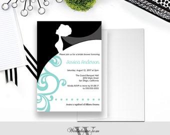Bridal Shower Invitations, Robin's Egg Blue Bridal Shower, Bride Silhouette Shower Invite
