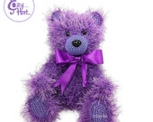 READY TO SHIP! Classic Purple Teddy Bear Stuffed Animal with Bow Hand Made Crochet One Of A Kind Toy Doll. Sale!