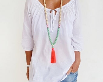 Neon Coral Boho long tassel necklace, mint resin beads, natural wood bead tassel necklace with neon coral  tassel