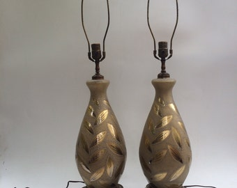 Vintage Mid Century Art Glass and Filagree Brass Pair of Tablelamps