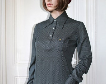 Tiny POLKA DOTS Van Laack polo shirt black and white 70s point collar dotted long sleeves woman shirt dots - Size S