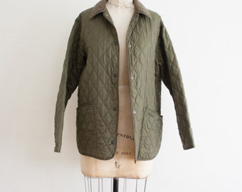1980s vintage barbour olive quilted jacket