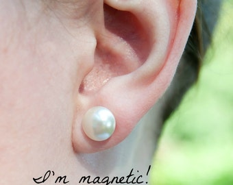 "Magnetic clip earrings, pearl cabochon, 10mm (approx. 7/16"")"