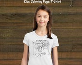 Coloring Book Page T-Shirt - Girls Ballerina