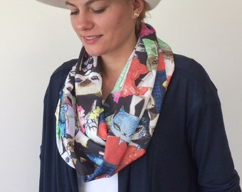 Cat Printed Scarf, Kitty Circle Scarf, Infinity Scarf, Unisex Cat Scarf, Catlover Scarf, Soft Lightweight Foulard, Women's Gift, Designscope