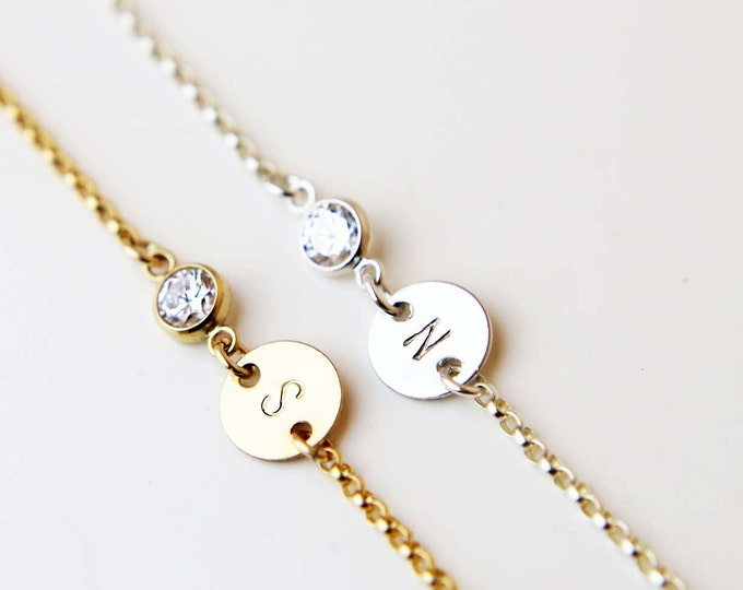 Personalized Initial Disc Bracelet with CZ Charm / Personalized Holiday gift / Bridesmaid gift / Christmas gift / Friendship Bracelet  EB035