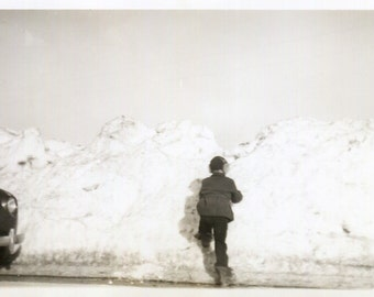 Vintage Photo..Walking Into A Wall of Snow 1943, Original Photo, Old Photo Snapshot, Vernacular Photography, American Social History Photo