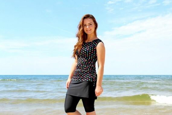 """Modest Swimwear, Swim Top for Women - Style """"Ava"""" - SwimTop, Tee, Shirt -"""