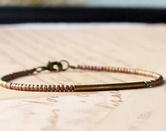 Bronze And Olive Green Bracelet, Seed Bead Bracelet, Stacking Bracelet, Simple Bracelet, Beaded Bracelet, Minimalist Bracelet