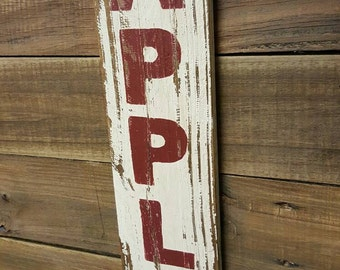Wood Sign -APPLES sign on reclaimed wood - Kitchen sign - Apples - Country Decor - Rustic sign