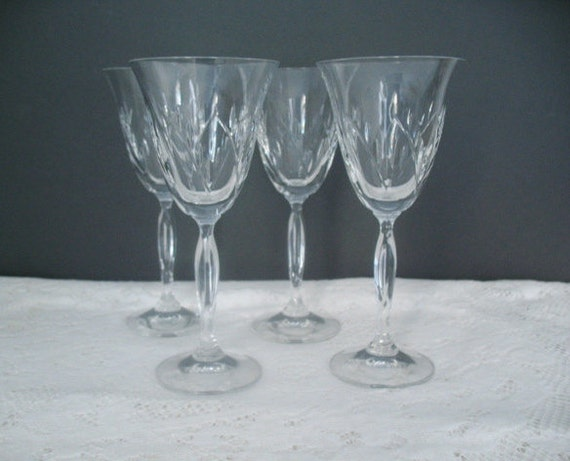 Vintage Wine Glasses Set Of Four Long Stem By