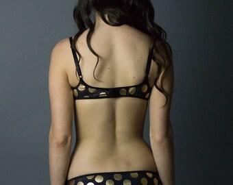 Polka Moon Bikini Panties, Black Polka Dot Panties, Spandex Panties, Black Panties, Black and Gold Panties, Moon Print Panties