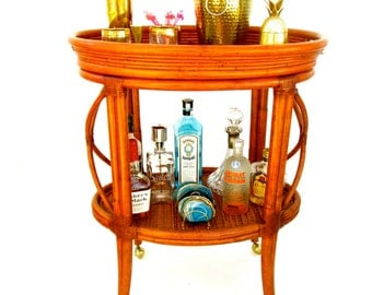 Vintage Bamboo Rattan Bar Cart || Ethan Allen Two-Tier Tropical Chic Rolling Server || Leather Wrapped Bindings || Brass Casters