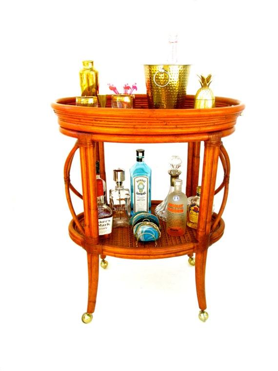 Vintage Ethan Allen Bamboo Rattan Bar Cart By Electricmarigold