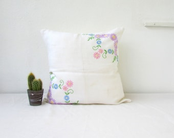 Pastel patchwork cushion cover, handmade in the UK