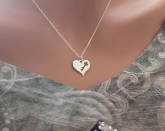 Sterling Silver 'You Have the Key to My Heart' Necklace, Large Heart with Key Cutout Necklace, Key to my Heart Necklace, Anniversary Gift